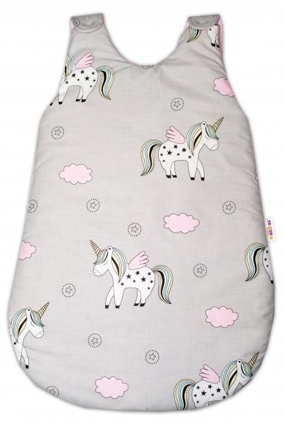 Bavlněný spací vak Jednorožec - šedý