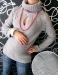 Těhotenská tunika s roláčkem LENKA - šedá
